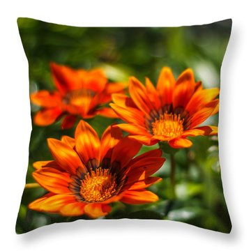Throw Pillow featuring the photograph Orange Flowers by Jane Luxton
