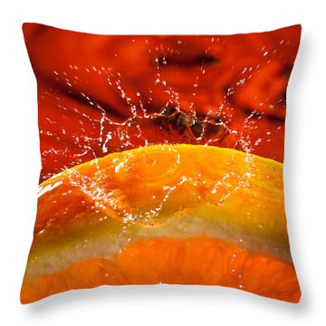 Orange Freshsplash 2 Throw Pillow by Steve Gadomski