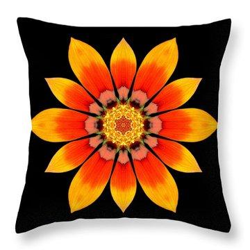 Orange Gazania I Flower Mandala Throw Pillow by David J Bookbinder