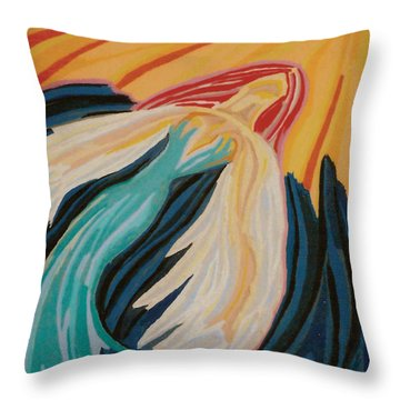 Orange Glow Angel Throw Pillow by Mike Manzi