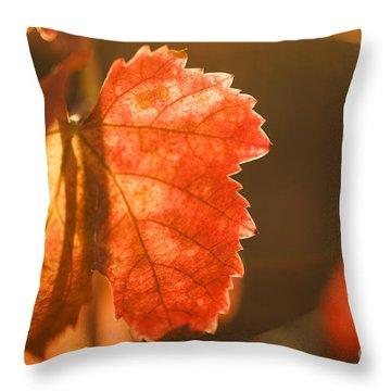 Orange Grape Leaf Macro Throw Pillow