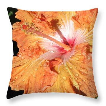 Orange Hibiscus After The Rain Throw Pillow by Connie Fox