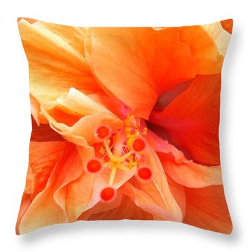 Throw Pillow featuring the photograph Orange Hibiscus by Karen Zuk Rosenblatt