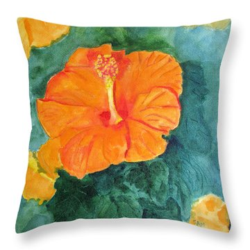 Orange Hibiscus Throw Pillow by Sandy McIntire