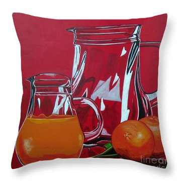 Orange Juggle Throw Pillow by Sandra Marie Adams