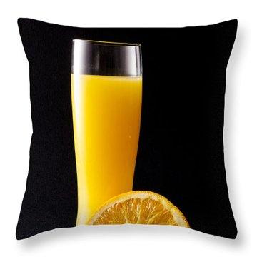 Orange Juice Throw Pillow by Gergana Chakalova