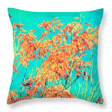 Orange Leaves And Turquoise Sky  Throw Pillow