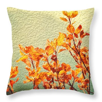 Orange Leaves Throw Pillow by Yew Kwang