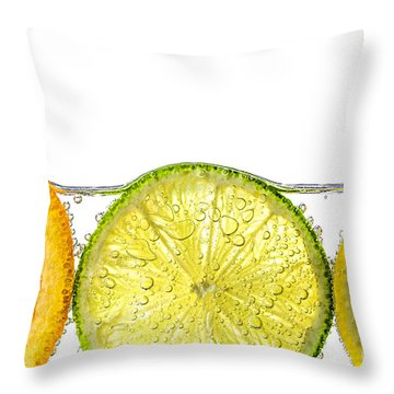 Orange Lemon And Lime Slices In Water Throw Pillow by Elena Elisseeva