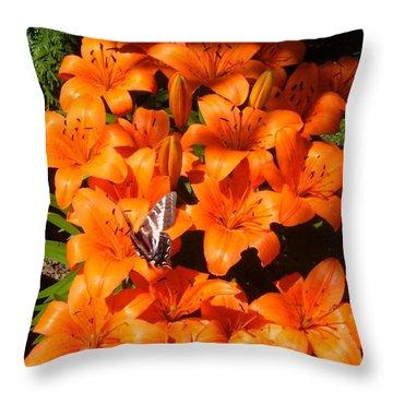 Orange Lilies Throw Pillow by Sharon Duguay