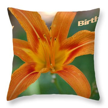 Orange Lily Birthday 1 Throw Pillow by Aimee L Maher Photography and Art Visit ALMGallerydotcom