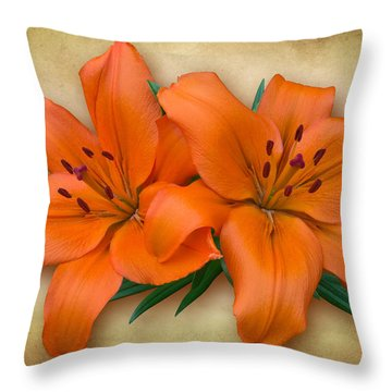 Orange Lily Throw Pillow by Jane McIlroy