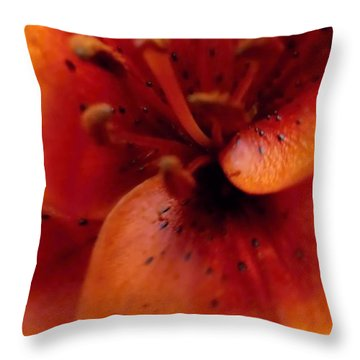 Orange Macro Modern Lily Throw Pillow by Danielle  Parent