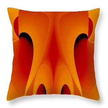 Throw Pillow featuring the mixed media Orange Mask by Rafael Salazar