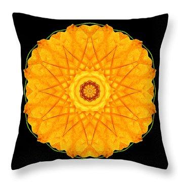 Throw Pillow featuring the photograph Orange Nasturtium Flower Mandala by David J Bookbinder