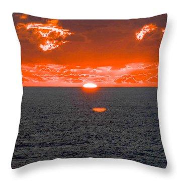 Orange Ocean Sunset Reflections Throw Pillow