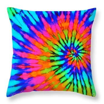 Orange Pink And Blue Tie Dye Spiral Throw Pillow