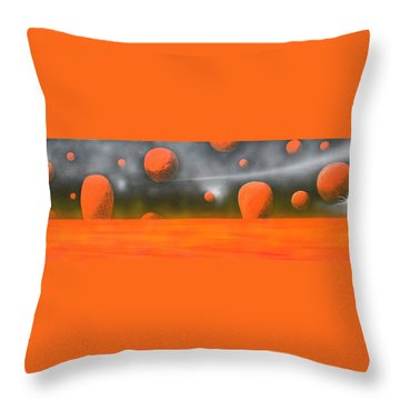 Throw Pillow featuring the painting Orange Planet by Tim Mullaney