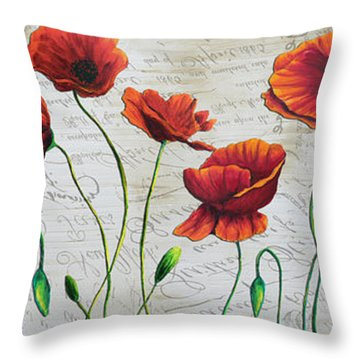 Orange Poppies Original Abstract Flower Painting By Megan Duncanson Throw Pillow by Megan Duncanson