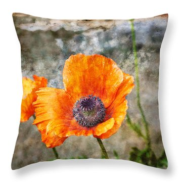Throw Pillow featuring the photograph Orange Poppy by Lee Craig