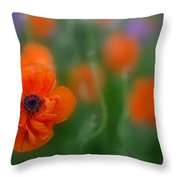Orange Poppy Throw Pillow