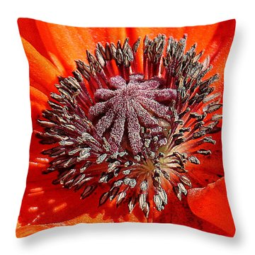 Throw Pillow featuring the photograph Orange Poppy by William Selander