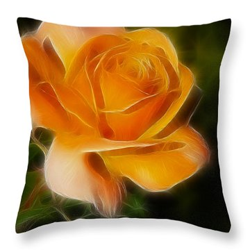 Orange Rose 6292-fractal Throw Pillow by Gary Gingrich Galleries
