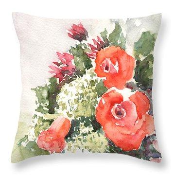 Orange Rose Arrangement Throw Pillow
