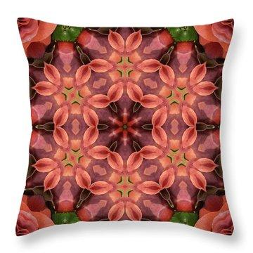 Orange Rose Mandala Throw Pillow