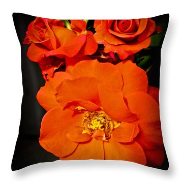 Throw Pillow featuring the photograph Orange Rose Trio by Joann Copeland-Paul