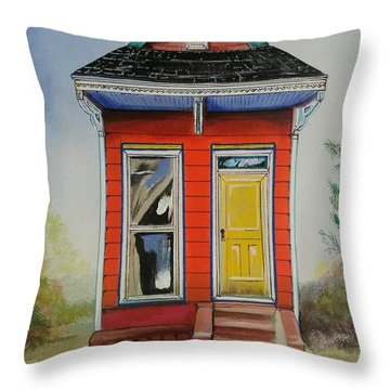 Orange Shotgun House Throw Pillow