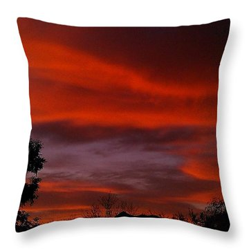 Throw Pillow featuring the photograph Orange Sky by Chris Tarpening