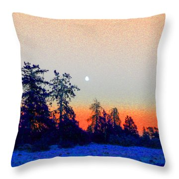 Orange Skyline Throw Pillow
