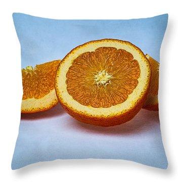 Orange Sliced Throw Pillow by Alexander Senin