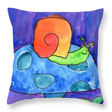 Orange Snail Throw Pillow