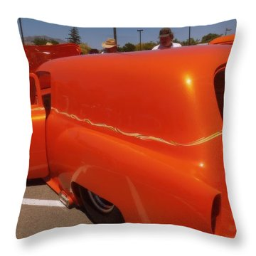 Orange Splash Panel Throw Pillow by Bobbee Rickard