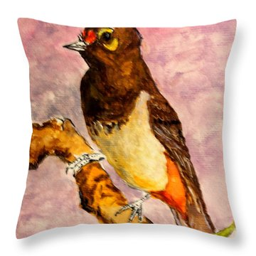 Orange-spotted Bulbul Throw Pillow