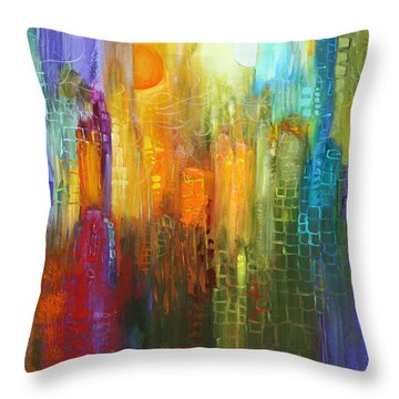 Orange Sun Throw Pillow