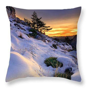 Orange Sunset At The Mountains Throw Pillow by Guido Montanes Castillo