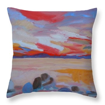 Throw Pillow featuring the painting Orange Sunset by Francine Frank