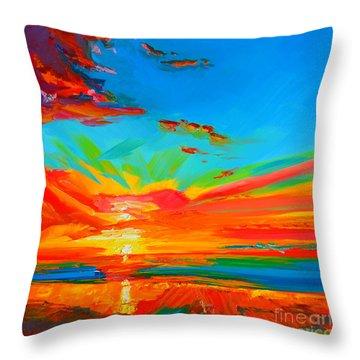 Orange Sunset Landscape Throw Pillow