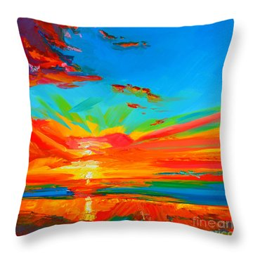 Orange Sunset Landscape Throw Pillow