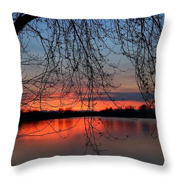 Throw Pillow featuring the photograph Orange Sunset by Lynn Hopwood