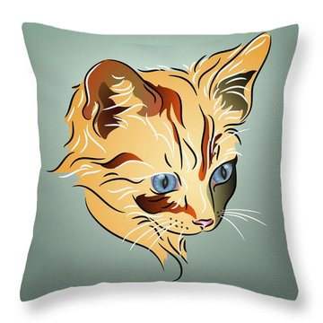 Throw Pillow featuring the digital art Orange Tabby Kitten by MM Anderson