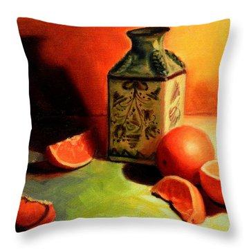 Orange Temptation, Peru Impression Throw Pillow