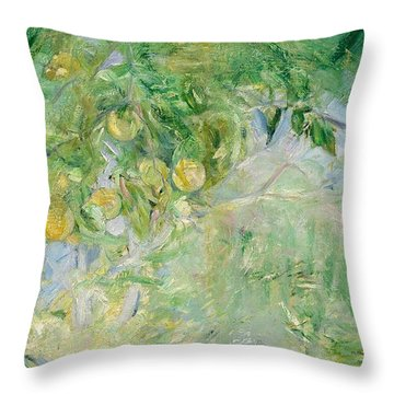 Orange Tree Branches Throw Pillow by Berthe Morisot