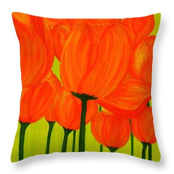 Orange Tulip Pops Throw Pillow