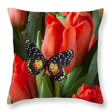 Orange Tulips And Butterfly Throw Pillow by Garry Gay