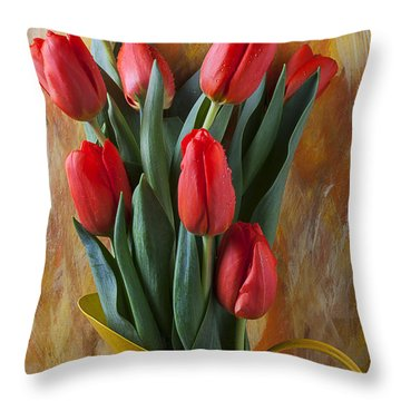 Orange Tulips In Yellow Pitcher Throw Pillow by Garry Gay