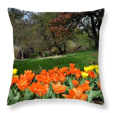 Orange Tulips Near A Hill Throw Pillow by Diane Lent